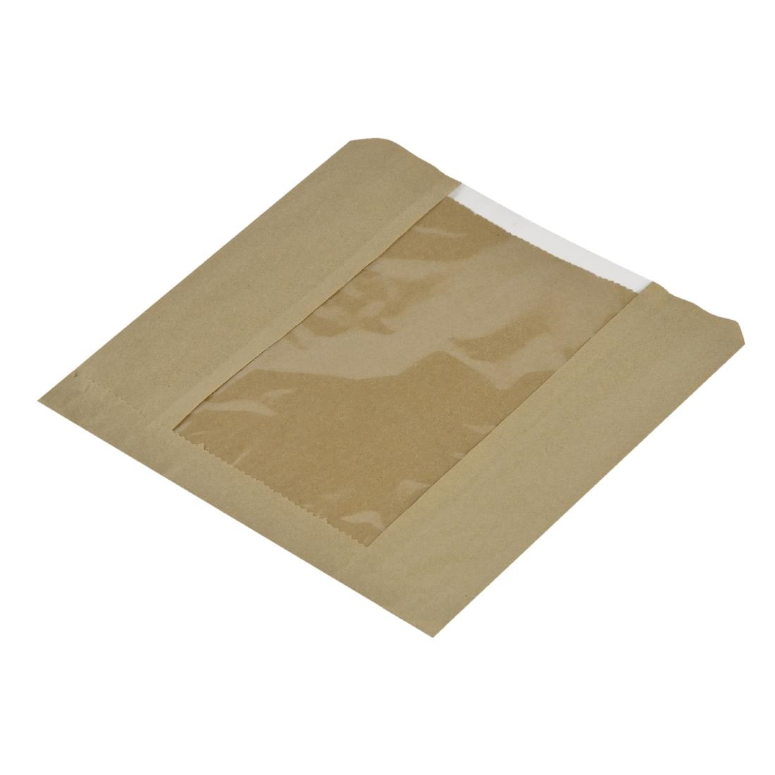 Vegware Compostable Small Kraft Sandwich Bags With NatureFlex Window