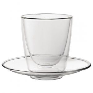 Utopia Double Walled Cappuccino Glass and Saucer 220ml