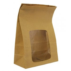 Vegware Compostable Kraft Fully-Lined Sandwich Bags With NatureFlex Window