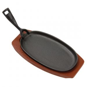Olympia Cast Iron Oval Sizzler with Wooden Stand 240mm